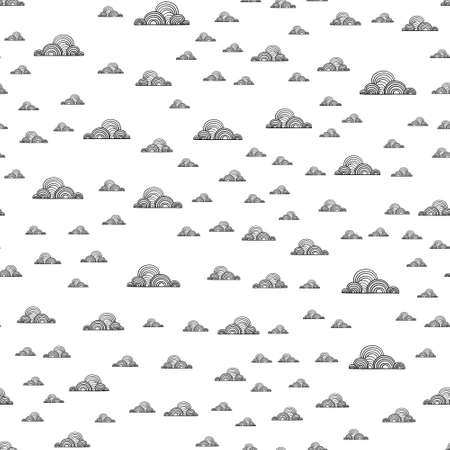 Seamless pattern with clouds, Doodle and sketch. Geometric linear repeating texture. Stockfoto - 158069159