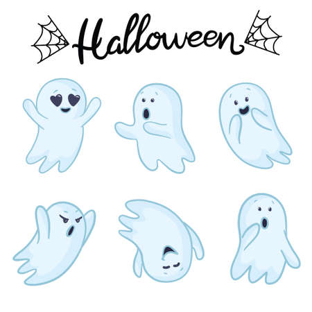 Set of ghosts. Halloween conception. Vector cartoon illustrations. Isolated objects on a white background. Hand-drawn style. Illustration