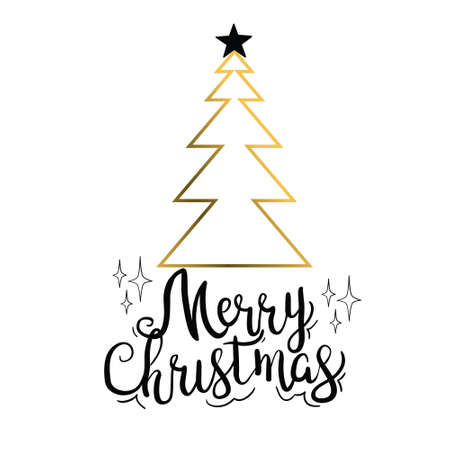 Merry Christmas trees golden silhouettes. Vector isolated gold icon. Stockfoto - 158069192