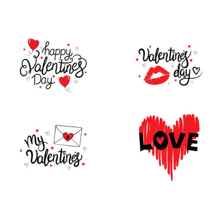 Set of hand drawn vector lettering quotes for Valentine's Day. Happy Valentine's Day. I love you.