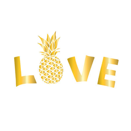 Pineapple gold icon. Tropical fruit, isolated on white background. Nature logo. Design element Vector illustration
