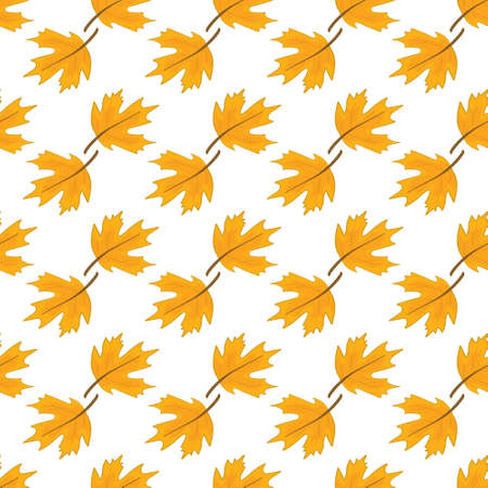 autumn pattern with fallen oak leaves and acorns on a white background