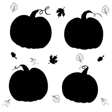 Pumpkins collection, various types, silhouette set
