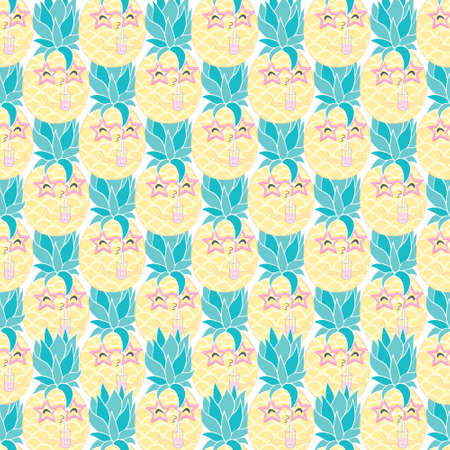 pineapple with Sunglasses tropical illustration seamless, summertime pattern