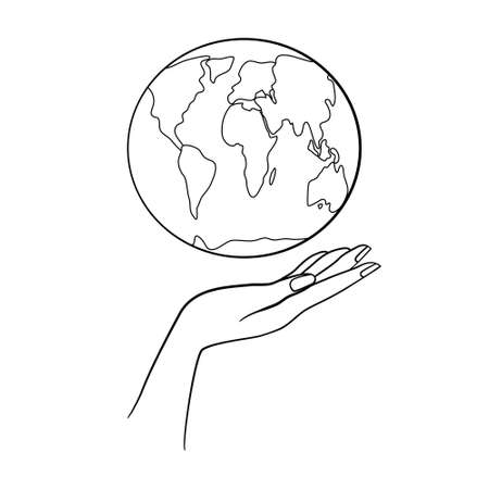 Vector hand drawn Earth day concept sketch. Human hands holding globe