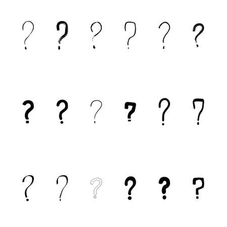 Set of hand drawn question marks. Vector illustration. Vettoriali