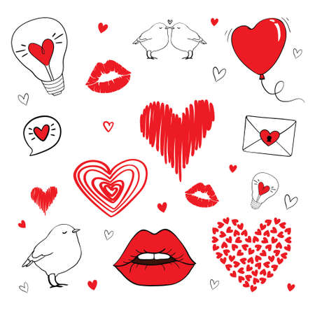 Valentine's Day theme doodle set. Freehand vector drawing.