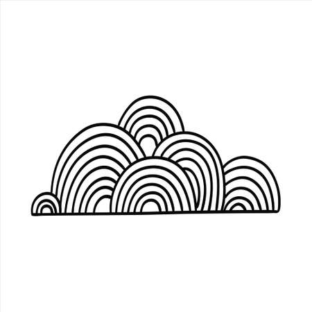 Vector Doodle cloud on white isolated background Illustration