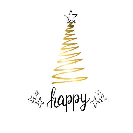 Merry Christmas trees golden silhouettes. Vector isolated gold icon.