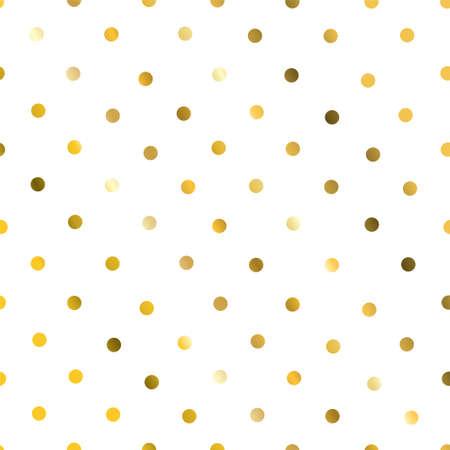 Gold glittering polka dot seamless pattern on white background.