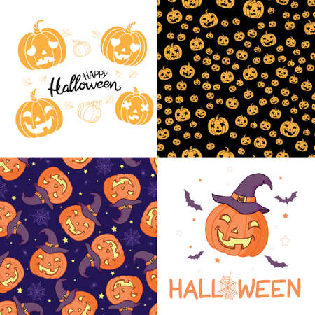 Vector collection of cartoon Halloween celebration cards. Halloween traditional decoration elements on dark background. Poster, banner design.