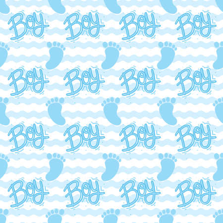 Pattern for a boy. Blue baby feet and feet seamless pattern. Vector illustration Stock Illustratie