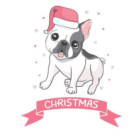 Christmas card French bulldog in a Santa hat. Vector illustration.