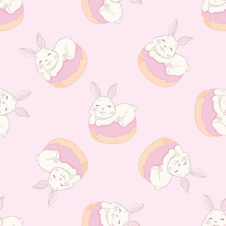 Seamless pattern with cartoon cute rabbit, sweet donut. Funny postcard. Hand-drawn vector illustration. Stock Illustratie