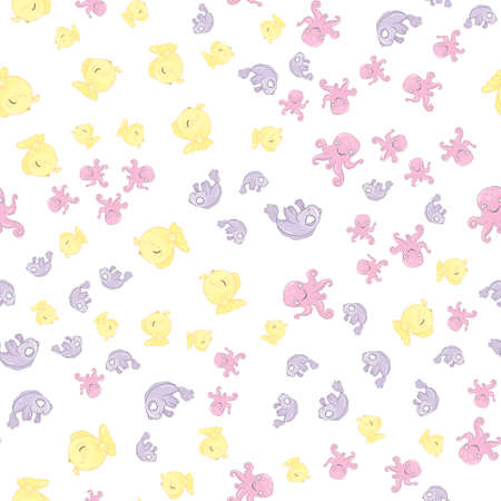 vector seamless pattern with fish on a white background Stock Illustratie