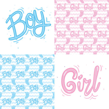 A set of ready-made designs for newborns. This is a boy. It's a girl. Vector illustration. Set of postcards and backgrounds.