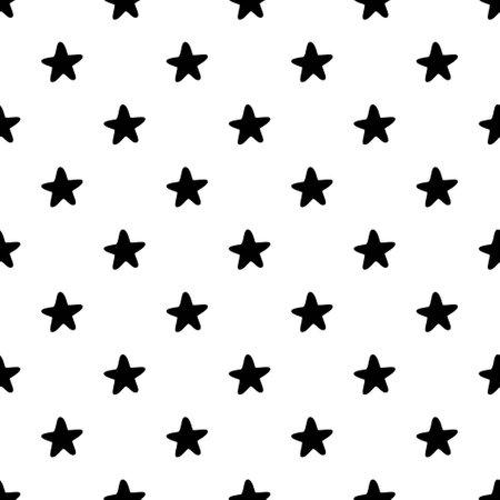 Seamless Star Monochrome Background on white background pattern