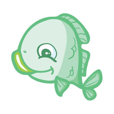Vector aquarium fish silhouette illustration. Colorful cartoon flat aquarium fish icon for your design. Stock Illustratie