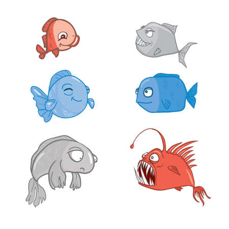 Various cute fishes collection. Vector illustration.