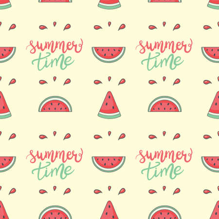 Cute seamless vector pattern with watermelons. Stock Illustratie