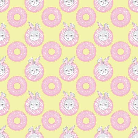 Seamless pattern with cartoon cute rabbit, sweet donut. vector illustration.
