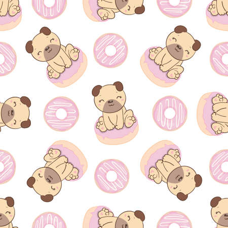 Background pug and donuts for children's textiles, pajamas, postcards. Seamless vector pattern Stock Illustratie