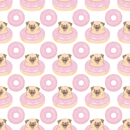Vector illustration. Seamless pattern pug and donut isolated on a white background.
