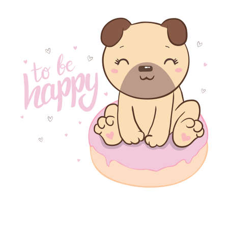 Cute pug with a donut illustration on a white background. Vector, illustration.