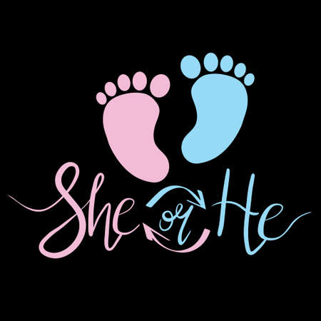 The Baby's feet are blue and pink. The inscription she or he. Outline, Footprint, vector, illustration Stock Illustratie