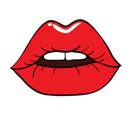 Vector icons for printing Women's lips. Illustration of a kiss with red lipstick on a white background Stock Illustratie