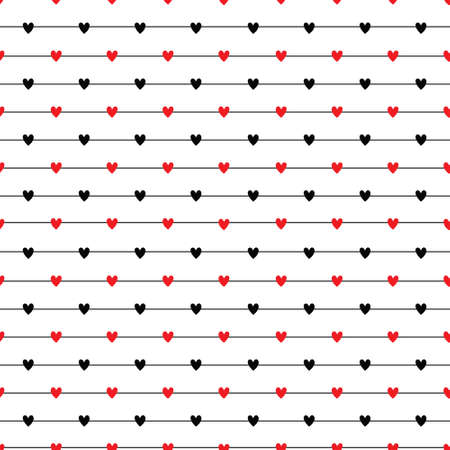 Seamless striped pattern with hearts. Vector repeating texture