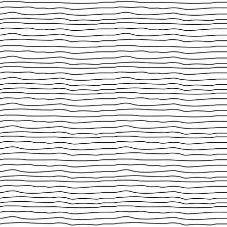 Wavy stripes seamless background. Thin hand drawn uneven waves vector pattern. Striped abstract template.