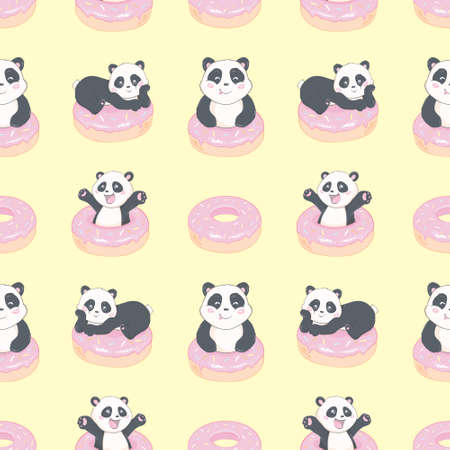 Background Panda and donuts for bed linen, baby textiles, pajamas, postcards. Seamless vector pattern