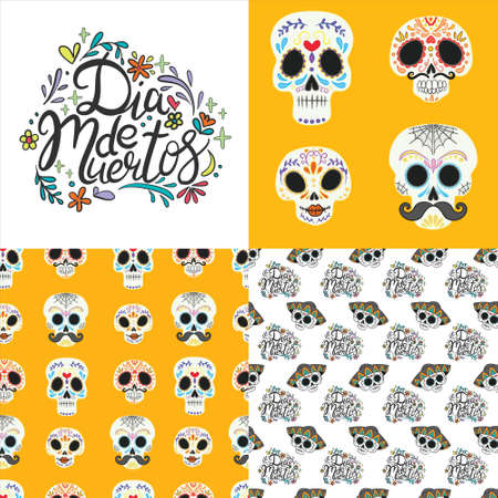Set of seamless patterns with skulls, flowers and candles for Dia de los mueros (Day of the dead) and Halloween. Vector
