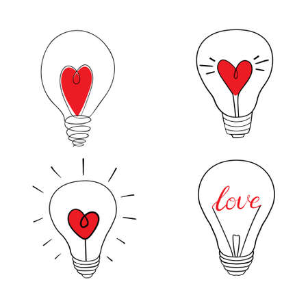 Set of lamp on white background, vector illustration. Lamp with a red heart Stock Illustratie