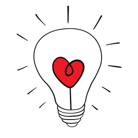 Heart shape in a light bulb line icon, outline vector sign, linear style pictogram isolated on white. Love symbol, logo illustration. Stock Illustratie