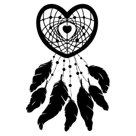 Hand drawn heart shaped dream catcher