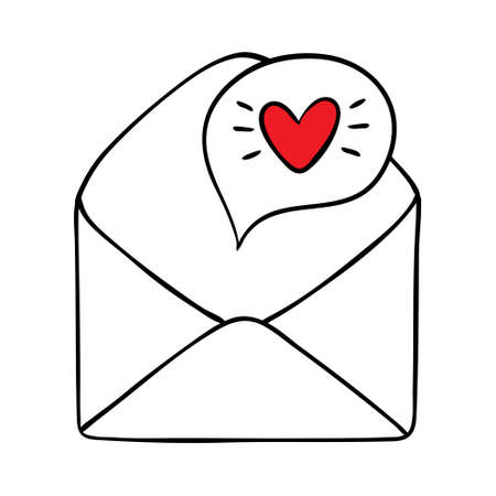 Colorful cartoon letter. Envelope with love message. St Valentine day themed vector illustration for icon.