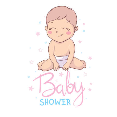 Inscription Baby Shower greeting card with baby boy and girl