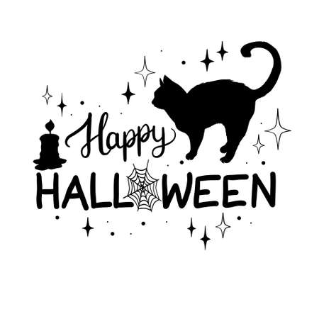 Happy Halloween with black cat silhouette Vector, illustration