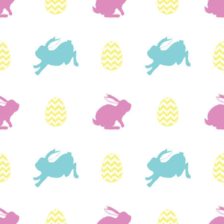 Seamless rabbit silhouette pattern with leaves and flowers to Easter holiday. Vector illustration.
