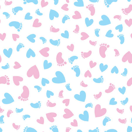 Seamless pattern with colorful baby footprints in vector