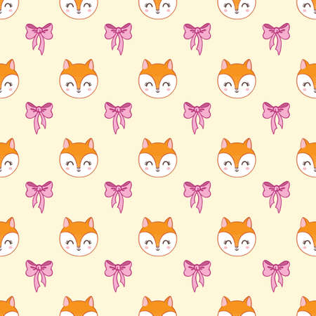 Vector seamless pattern with cute cartoon foxes. Stock Illustratie