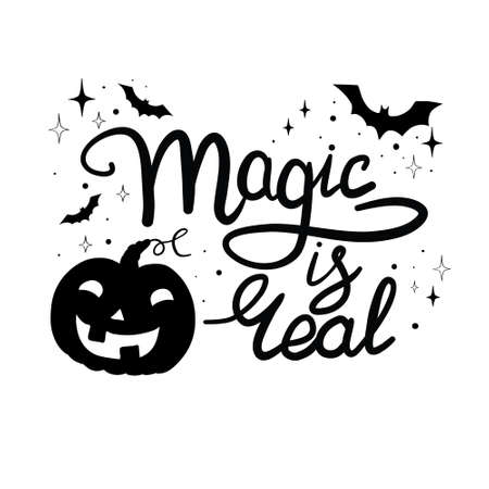Cartoon halloween pumpkin wearing witch hat isolated Stock Illustratie