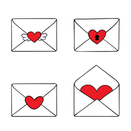 Set of four romantic vector Valentine envelopes isolated on white. Red heart
