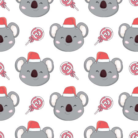 Koala with Santa hat pattern New Year seamless pattern. For scrapbooking paper, gift wrapping, wallpaper. Children's holiday, vector, illustration.