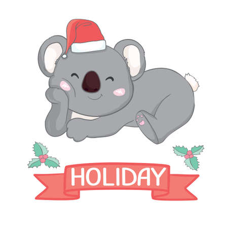 Koala bear baby in red Christmas hat. Cute and funny character. Cartoon style. Simple flat illustration. Stock Illustratie