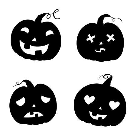 Halloween pumpkins with different expressions on white background. vector illustration