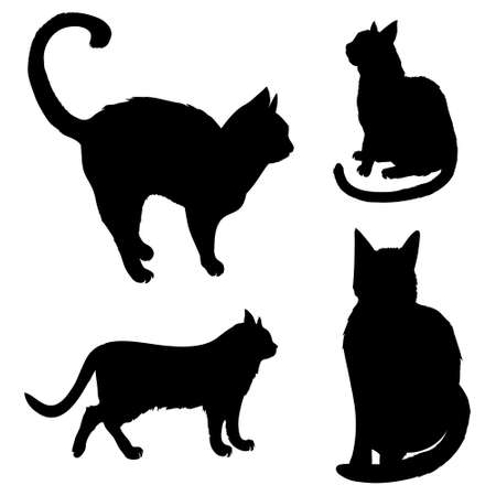 Vector illustrations of black silhouettes sitting cats set isolated on white background