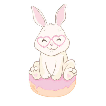 Funny little bunny baby. Donut and rabbit. Enjoy summer. Flat animal Illustration for kids game, book, t-shirt, card. Isolated vector Stock Illustratie